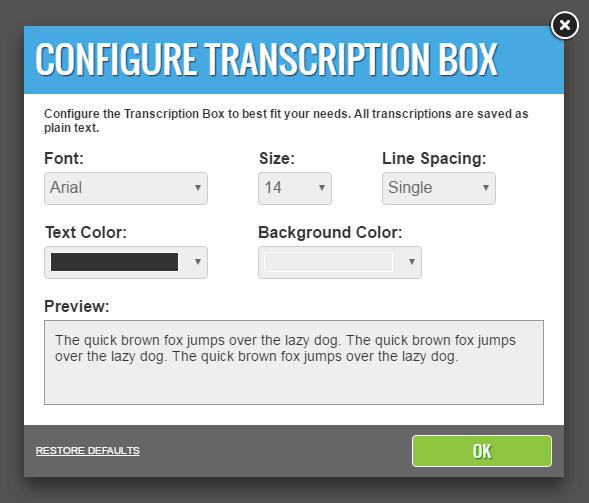 Configure Transcription Box