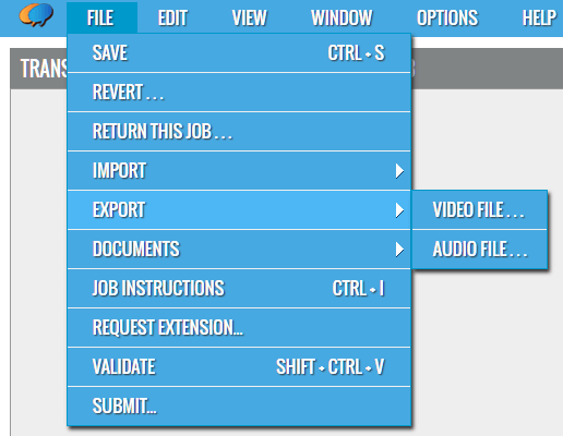 File Menu - Export