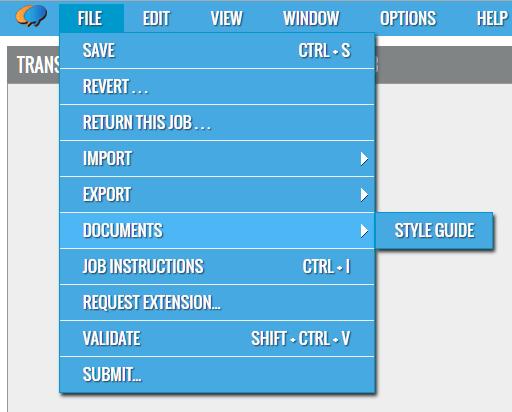 File Menu - Style Guide