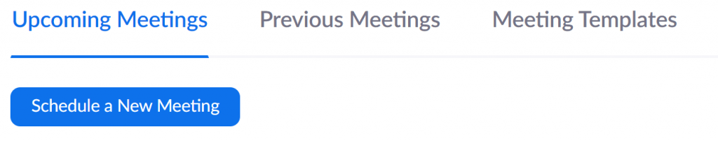 Zoom - Schedule a New Meeting button.