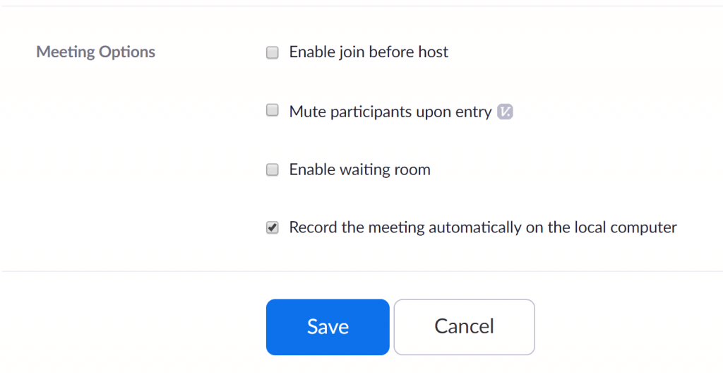 Zoom - Record the meeting automatically on the local computer option